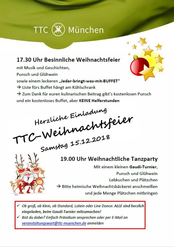 Beitrag Zur Weihnachtsfeier.Herzliche Einladung Zur Ttc Weihnachtsfeier